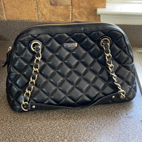 Quilted Black Leather kate Spade Tote